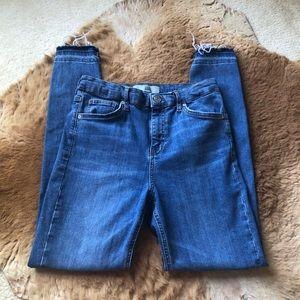 Topshop Moto Jamie Raw Hem Frayed Edge Jeans